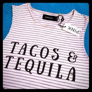 "Mink Pink NWT ""Tacos & Tequila"" Striped crop Top S"